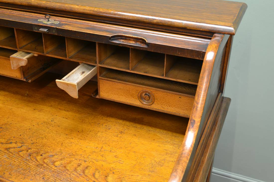 Edwardian Oak Roll Top / Tambour Front Antique Desk - Angus London