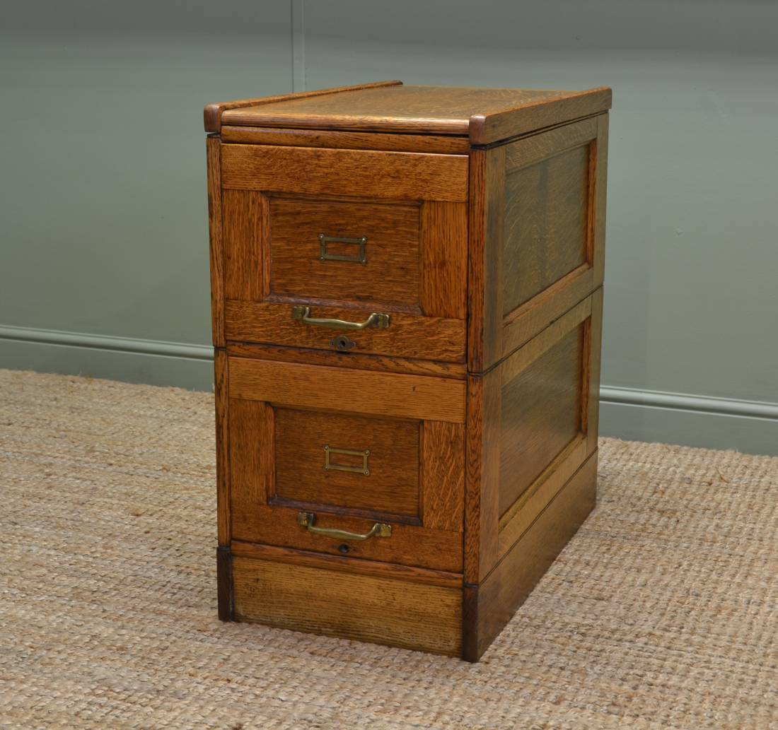 Unusual Edwardian Oak Antique Filing Cabinet Antiques World