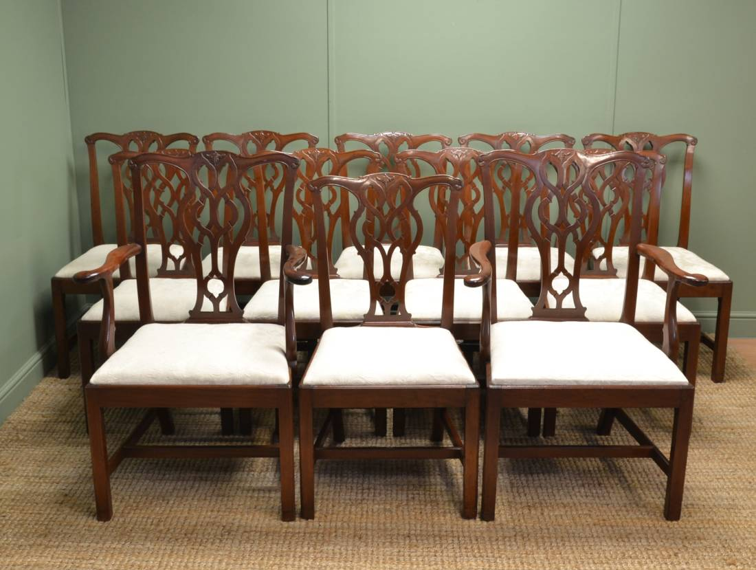 Magnificent Set of Twelve Antique Victorian Chippendale Style Dining Chairs