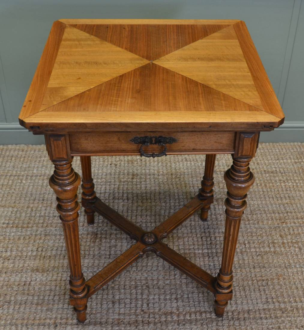Victorian Walnut Antique Envelope Card Table / Bridge Table