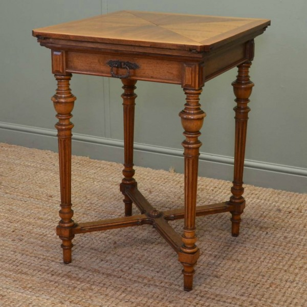 Victorian Walnut Antique Envelope Card Table / Side Table