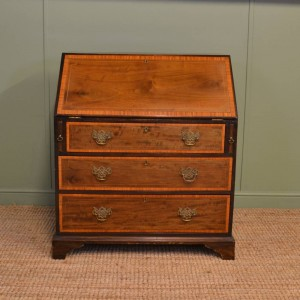 Antique Victorian Inlaid Walnut Bureau