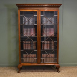 Tall Victorian Walnut Antique Glazed Bookcase