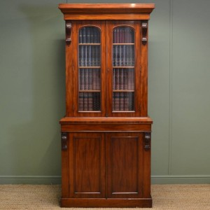 Quality Antique Victorian, Attractively Proportioned, Glazed Bookcase