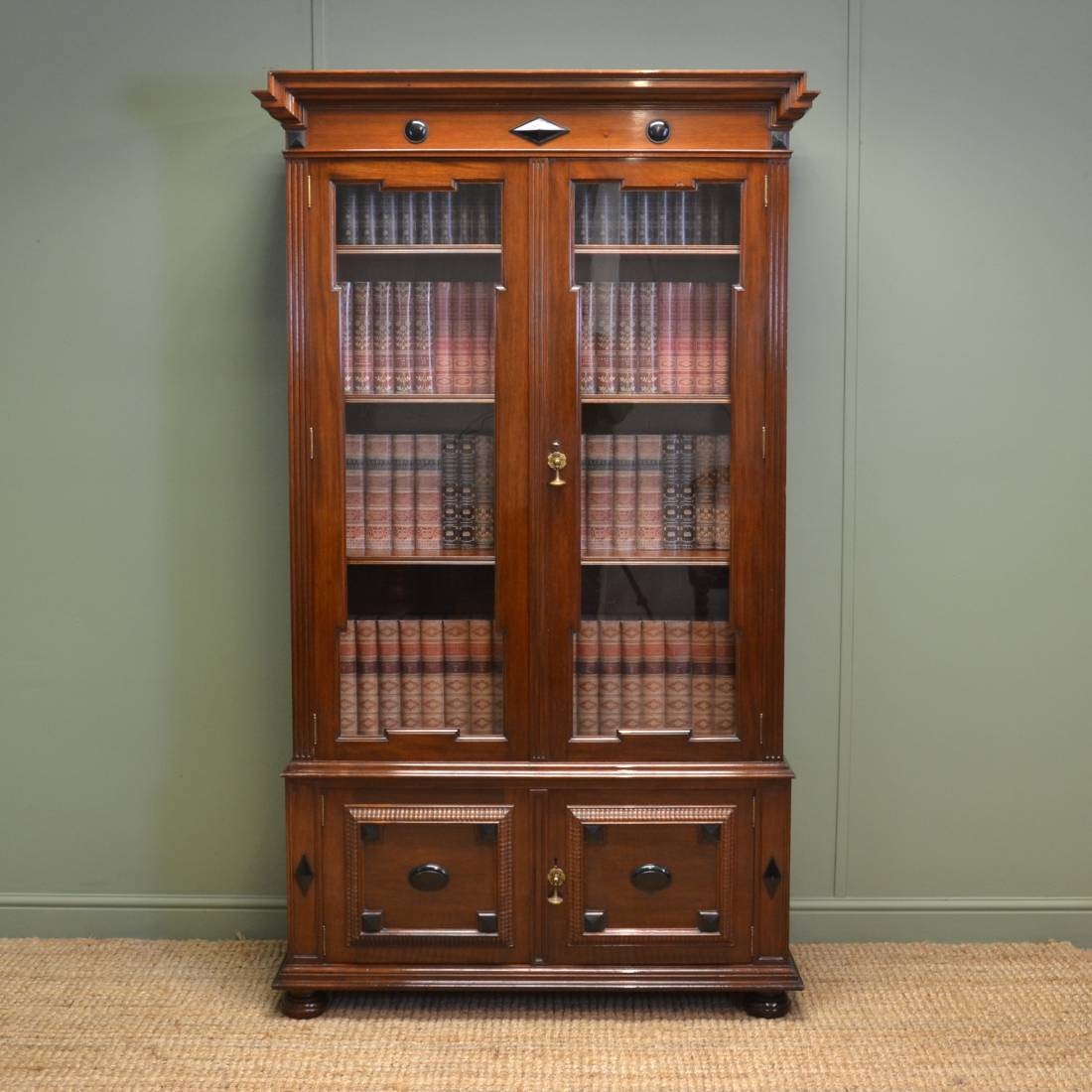 Quality Shapland & Petter Arts & Crafts Antique Walnut Bookcase