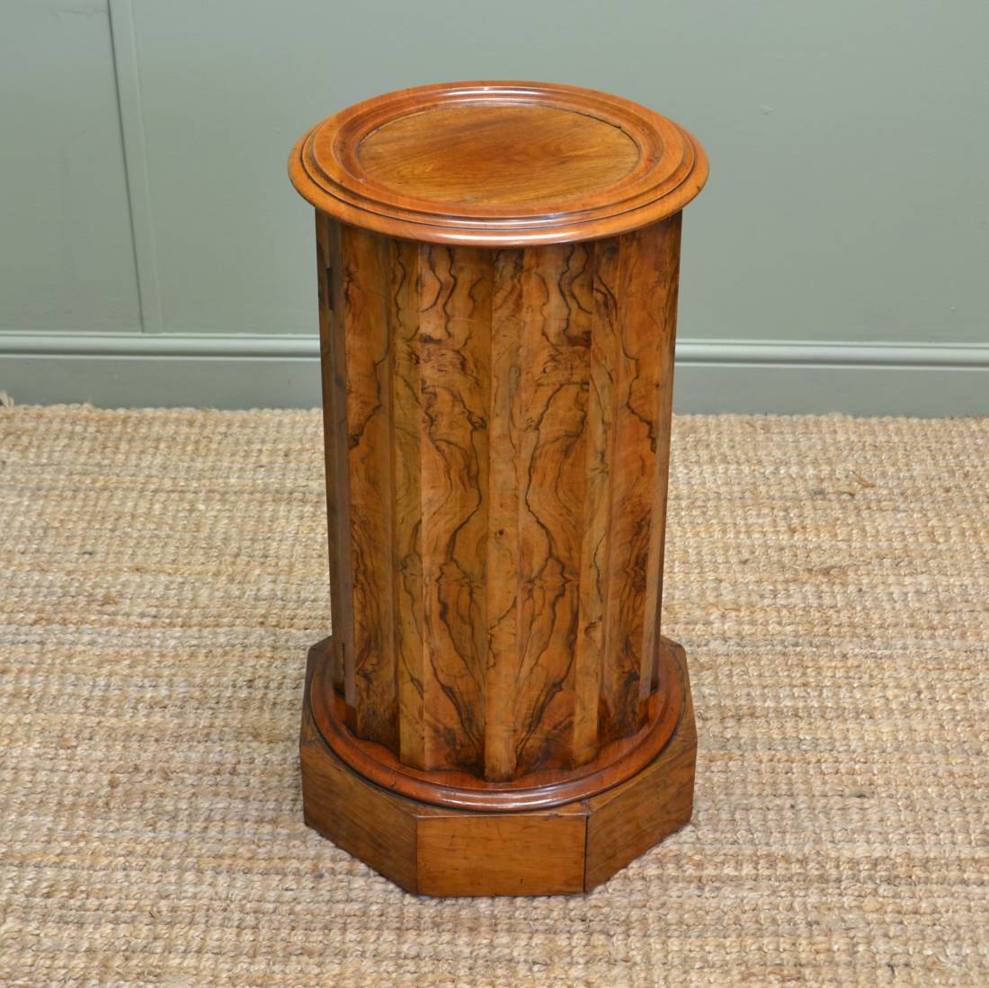 Figured Walnut Cylindrical Antique Pot Cupboard with Scalloped Edge.