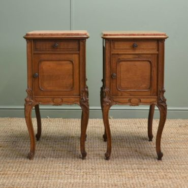 Pair of Edwardian Oak Antique Bedside Cabinets