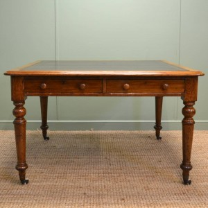 Large Victorian Oak Antique Writing Table by Roodhouse & Sons, Leeds