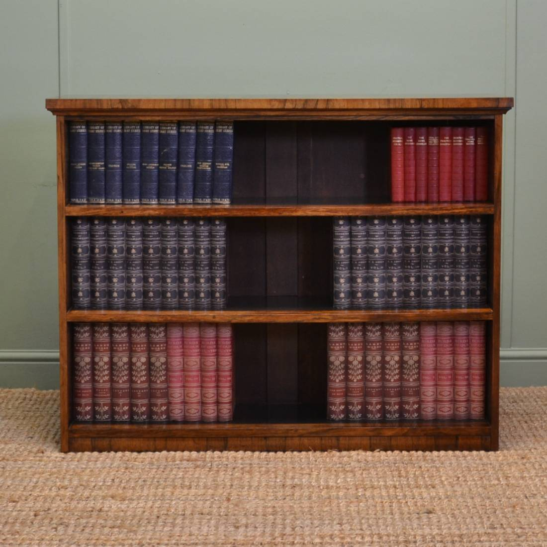 Small Victorian Rosewood Antique Open Bookcase.