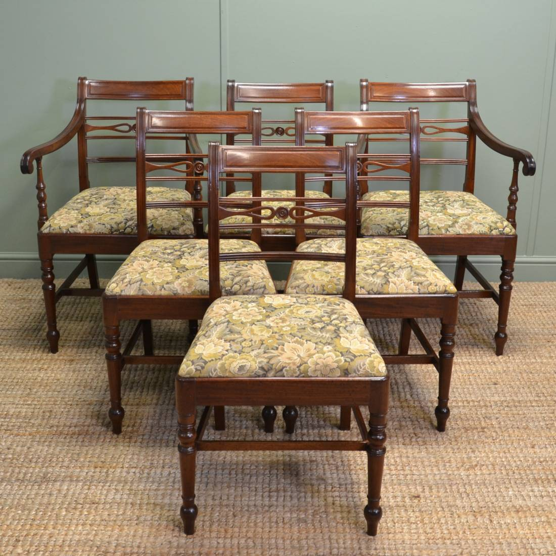 Antique Mahogany Dining Room Furniture: Set Of Six Regency Mahogany Antique Dining Chairs