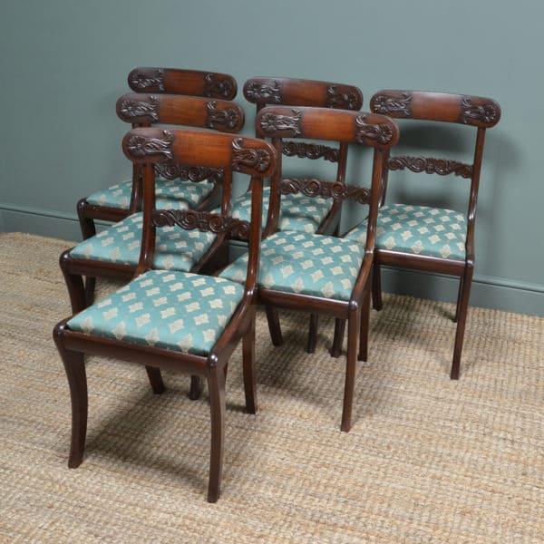 Set of Six Regency Mahogany Antique Dining Chairs