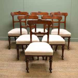 Set of Six Victorian Walnut Antique Dining Chairs