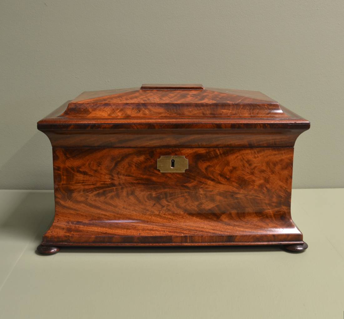 Superb Quality Large Flamed Mahogany Antique Tea Caddy