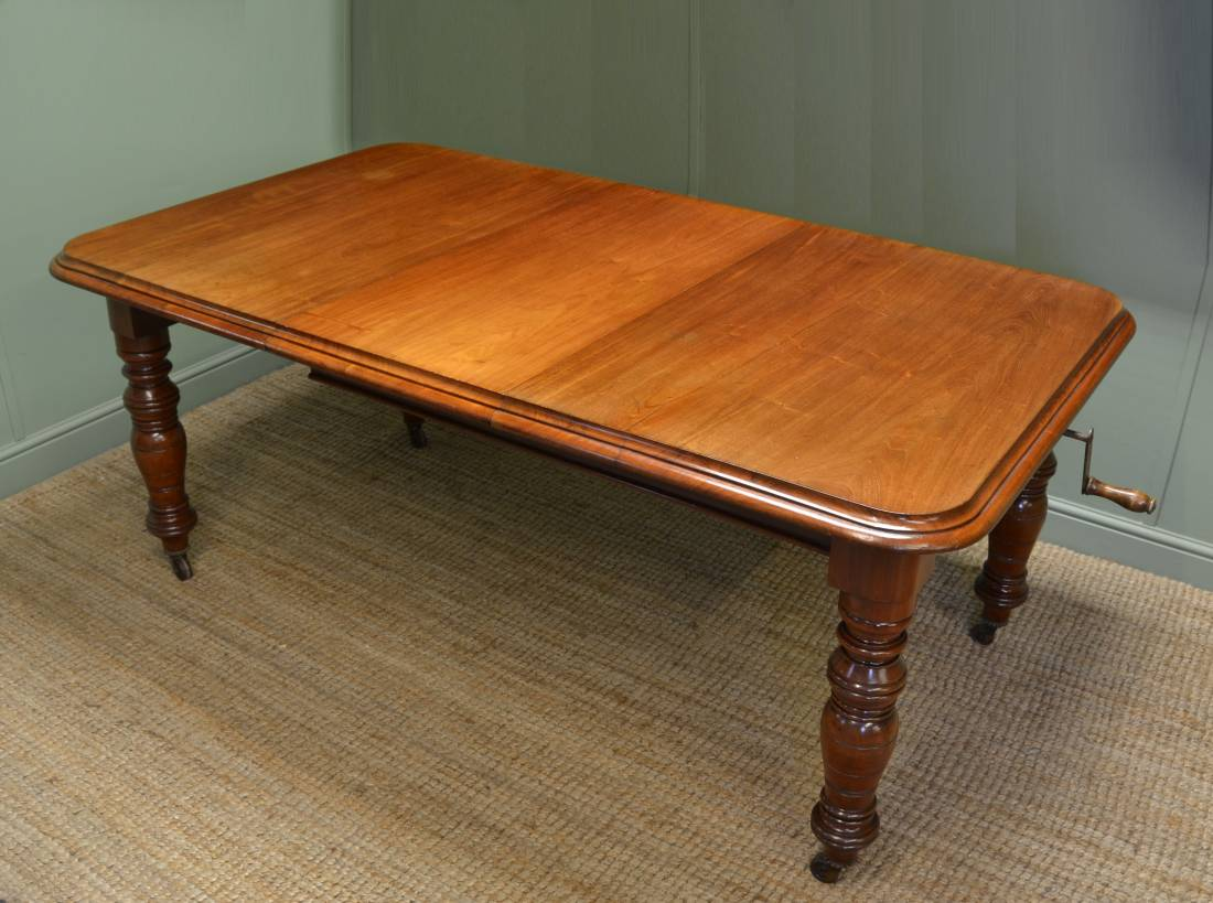 Quality Victorian Solid Walnut Extending Wind Out Dining Table