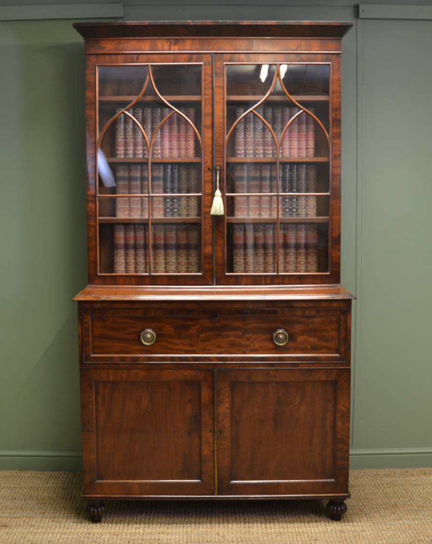 William IV Mahogany Antique Secretaire Bookcase