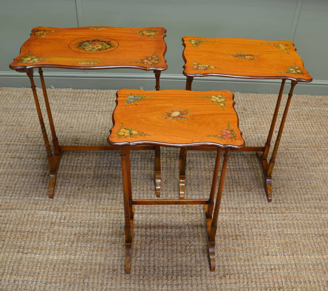 Unusual Edwardian Nest of Three Painted Antique Satinwood Tables