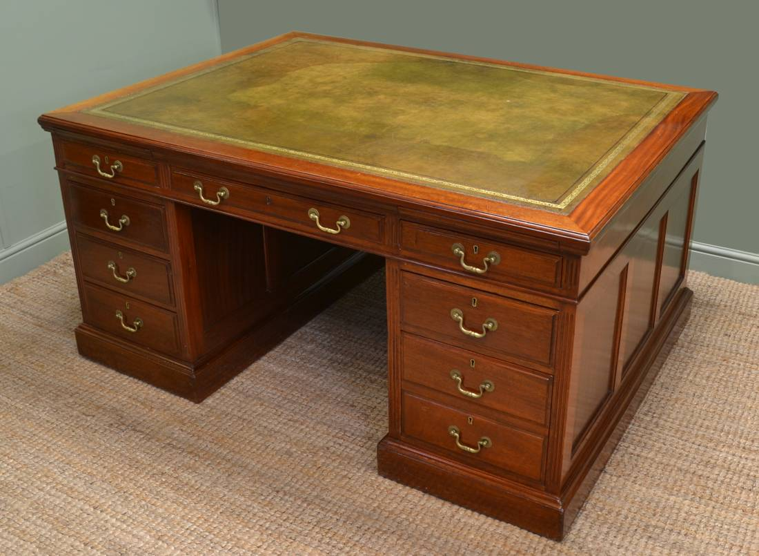 Large Antique Edwardian Mahogany True Partners Desk.