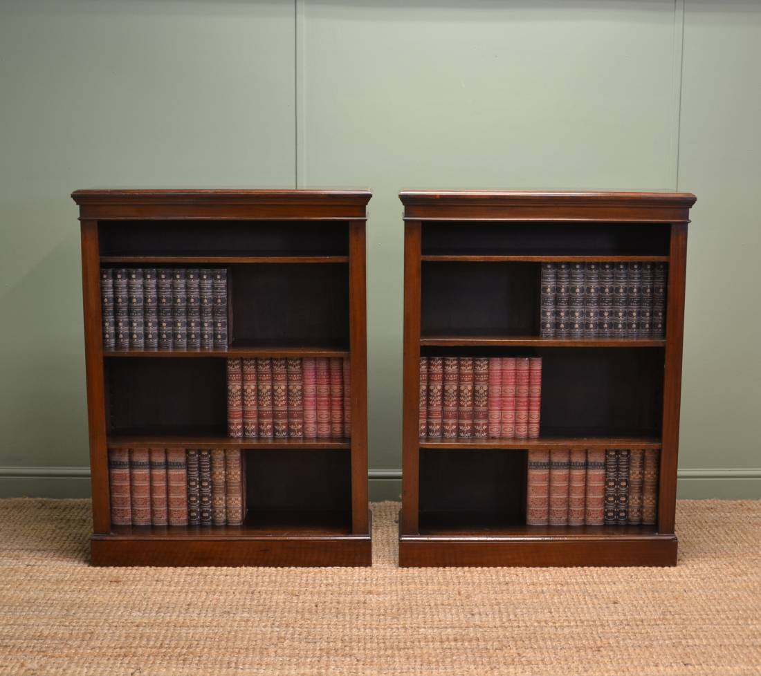 Unusual Pair of Antique Walnut Edwardian Open Bookcases.