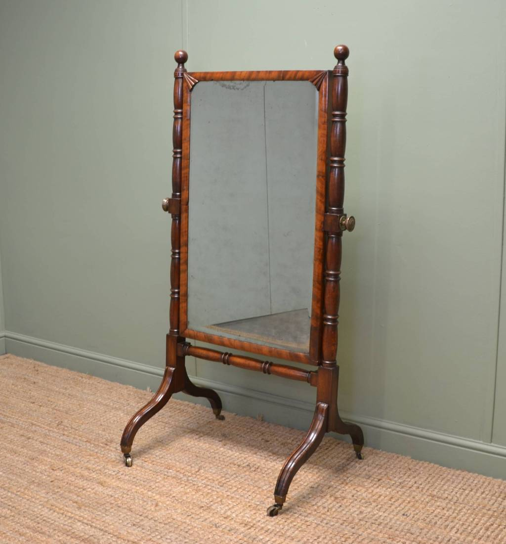 Fine regency mahogany tilting antique cheval mirror for Cheval mirror