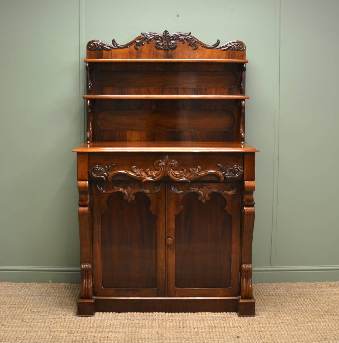 Antique Victorian Rosewood Opulent Sideboard / Chiffonier.