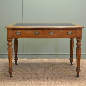 Fine Quality Antique Victorian Golden Oak Writing Table