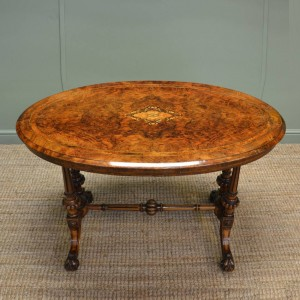 Quality Victorian Burr Walnut Antique Oval Centre Table
