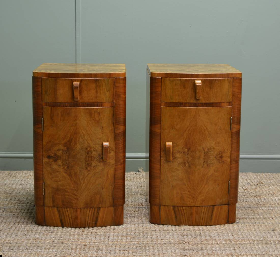 True Pair of Antique Art Deco Figured Walnut Bedside Cabinets