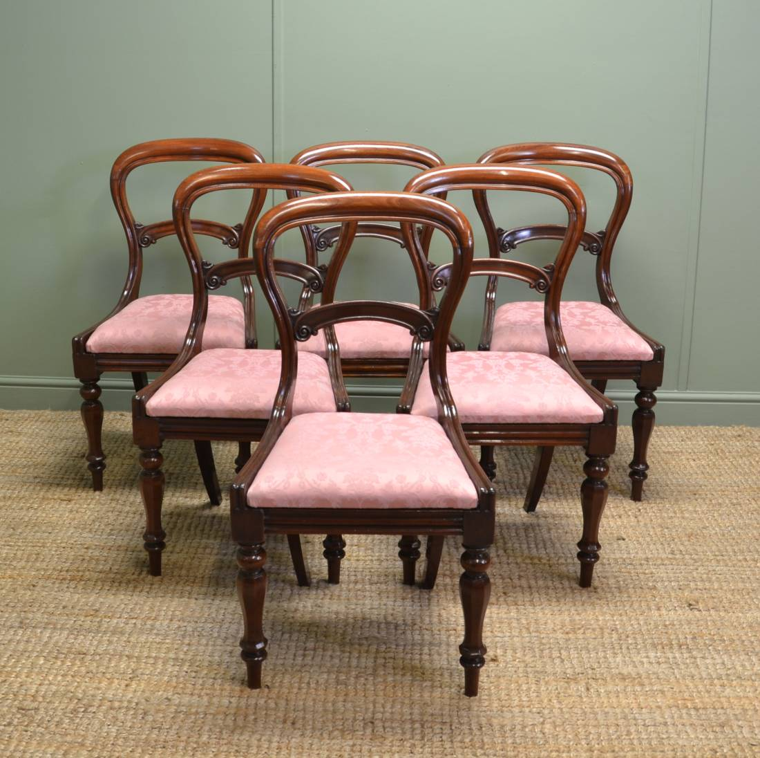 Super Quality, Set of Six, Antique Victorian Mahogany Balloon Back Chairs