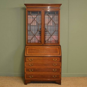 Quality Inlaid Edwardian Mahogany Antique Bureau Bookcase