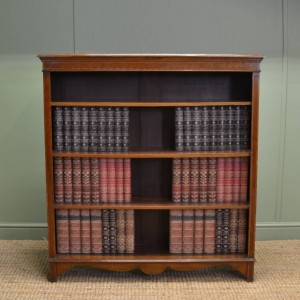 Inlaid Antique Edwardian Walnut Open Bookcase
