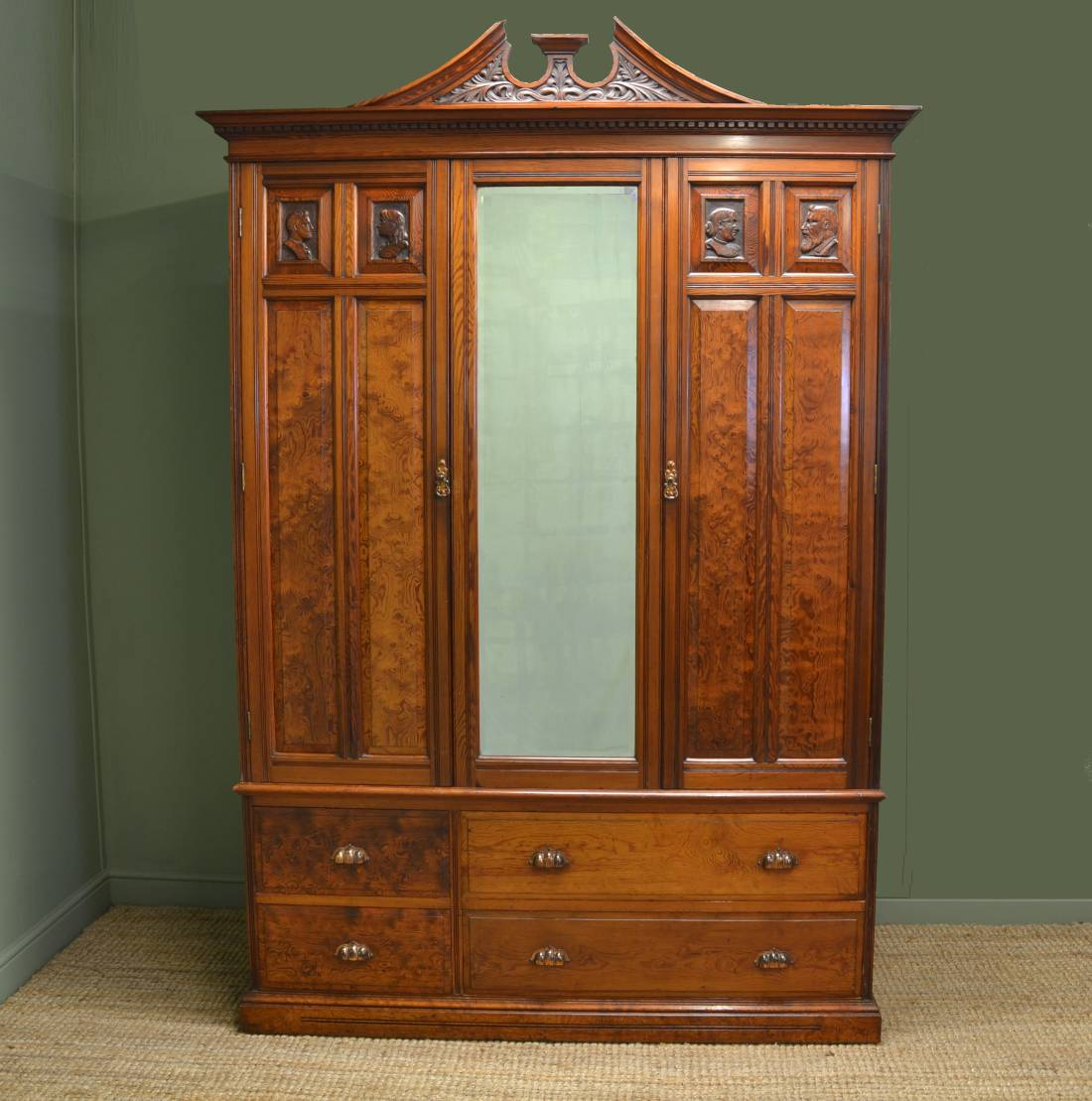 Beautifully figured Pitch Pine Antique Double Wardrobe.