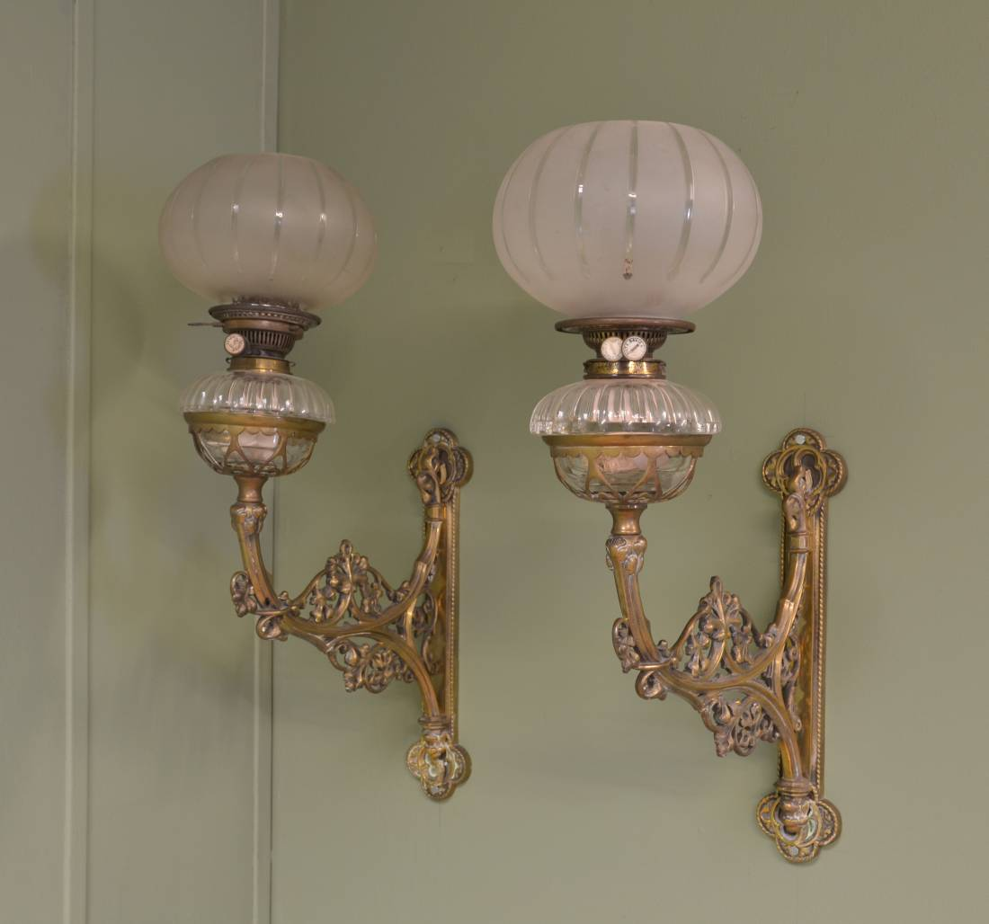 Pair of Decorative Antique Brass French Oil Lamps