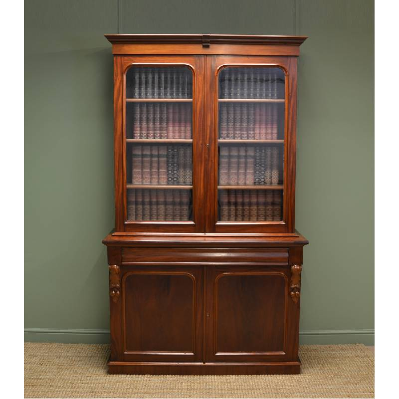 Superb Quality Victorian Mahogany Antique Glazed Bookcase