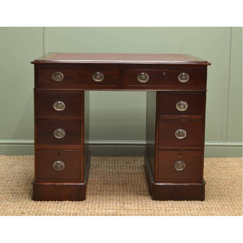 Unusually Proportioned Antique Victorian Pedestal Desk in Walnut.