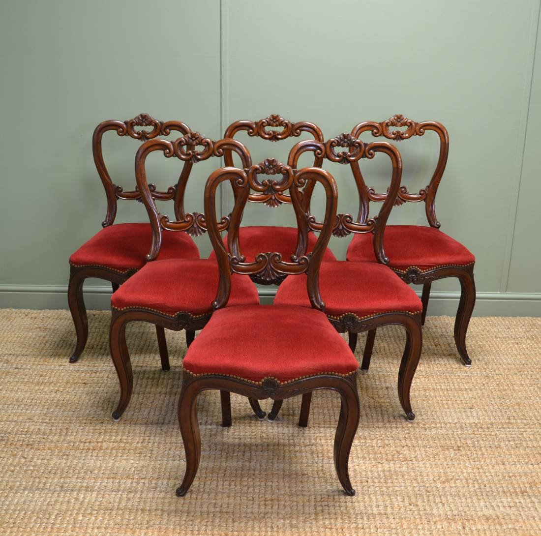 Set of Six Antique Victorian Mahogany Ornately Carved Balloon Back Chairs