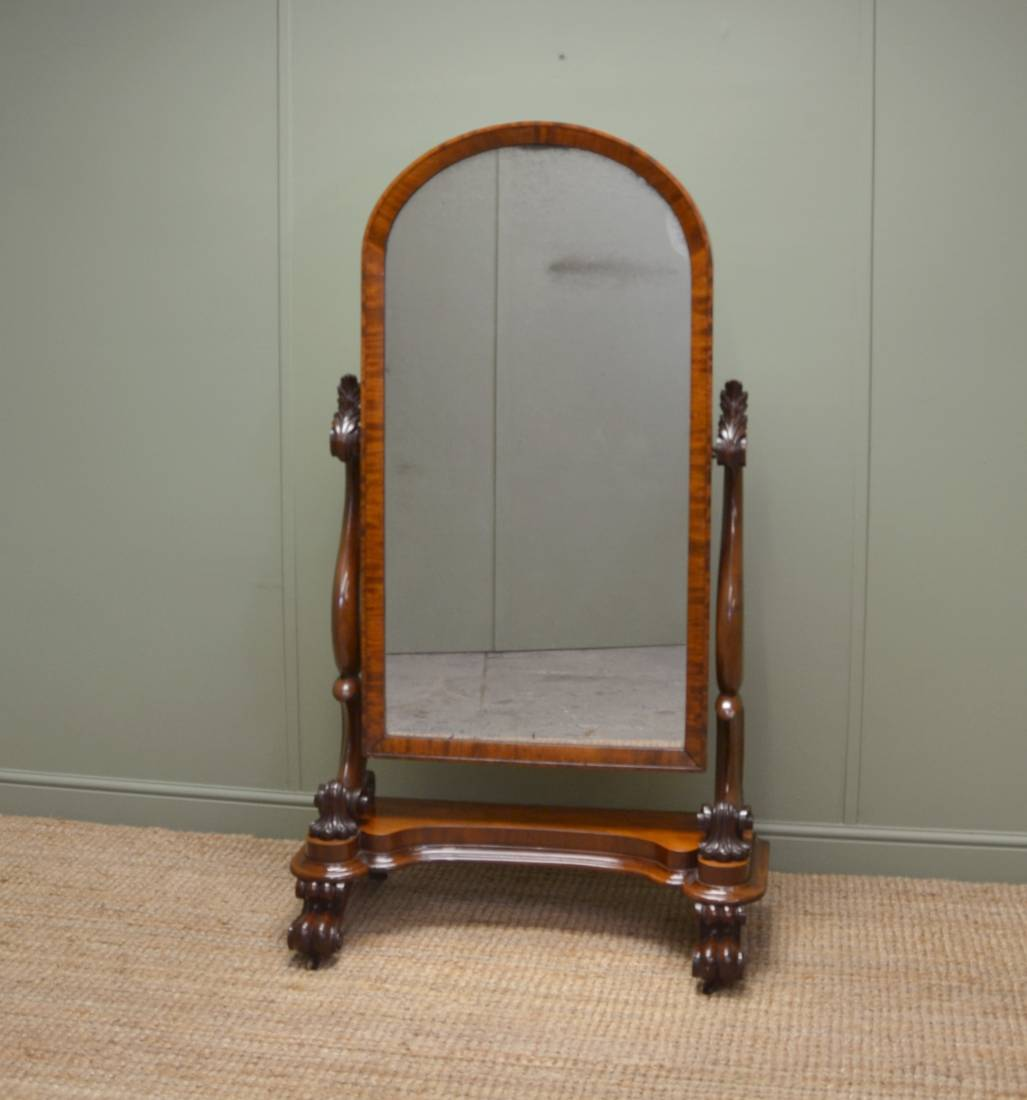 Superb Quality Victorian Mahogany Antique Cheval Mirror