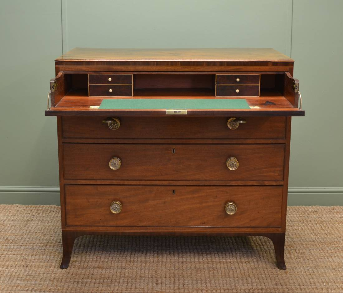 Superb Quality Regency Antique Mahogany Secretaire Chest