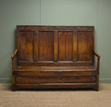 Early 18th Century High Back Antique Oak Settle