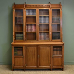 Striking Victorian Walnut Arts & Crafts Antique bookcase