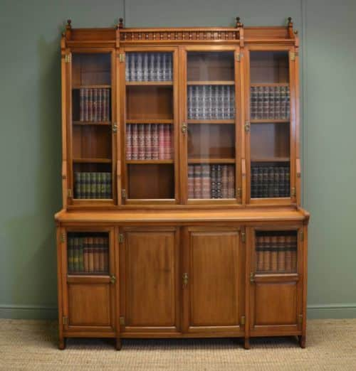 Striking Victorian Walnut Arts & Crafts Antique bookcase