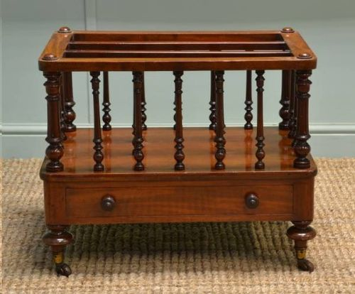 Quality Victorian Mahogany Antique Canterbury / Paper Rack.