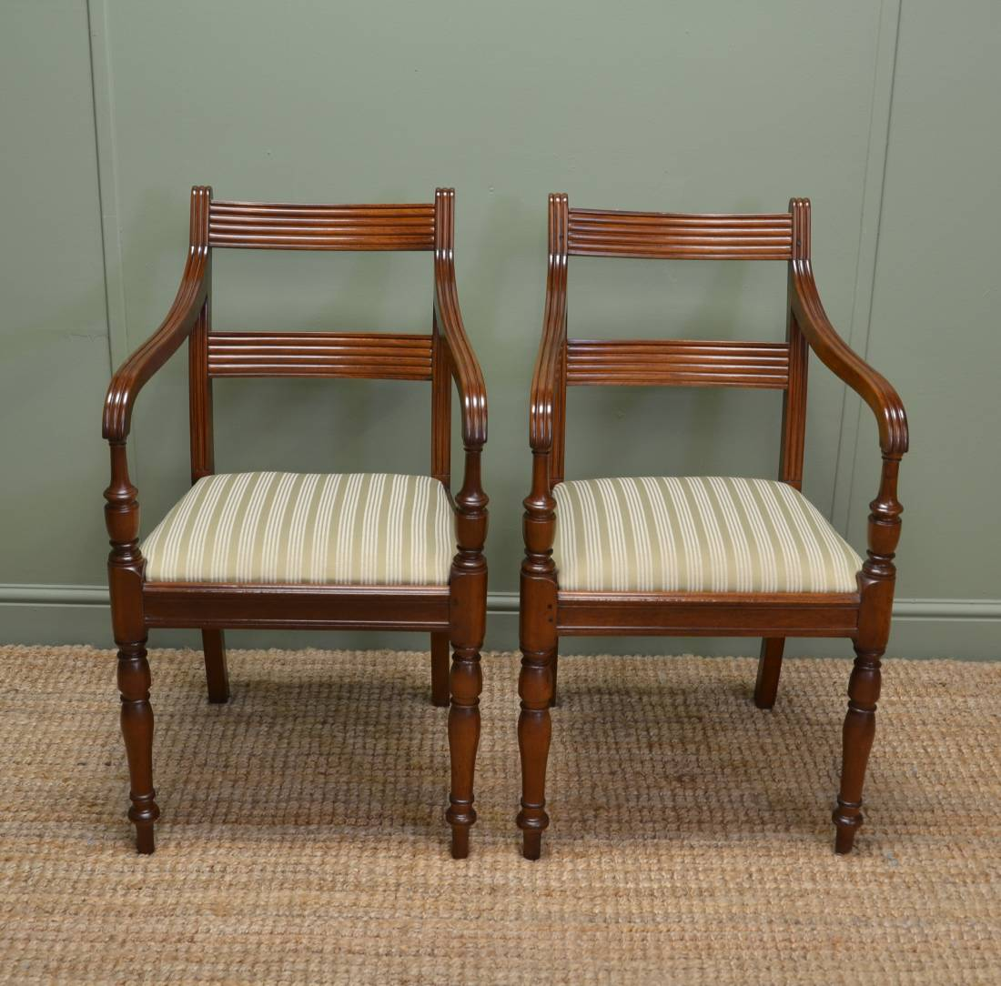 Quality Pair of Regency Walnut Antique Carver Armchairs.