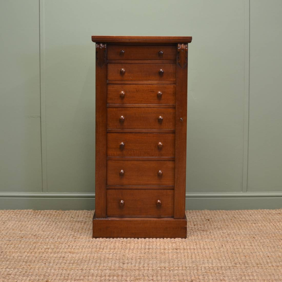 Quality Walnut Antique Wellington Chest of Drawers