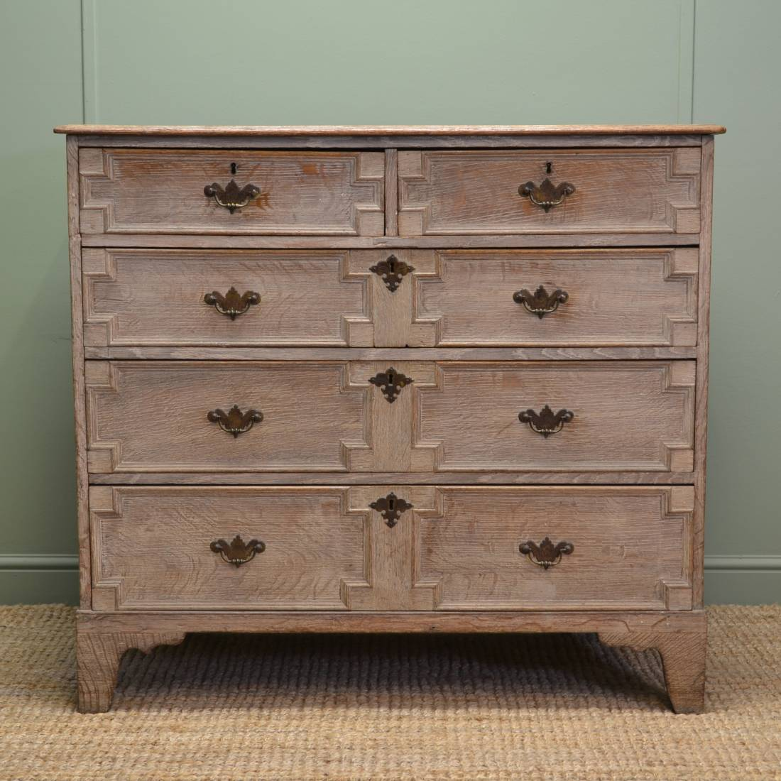 Limed Oak 18th Century Antique Chest of Drawers