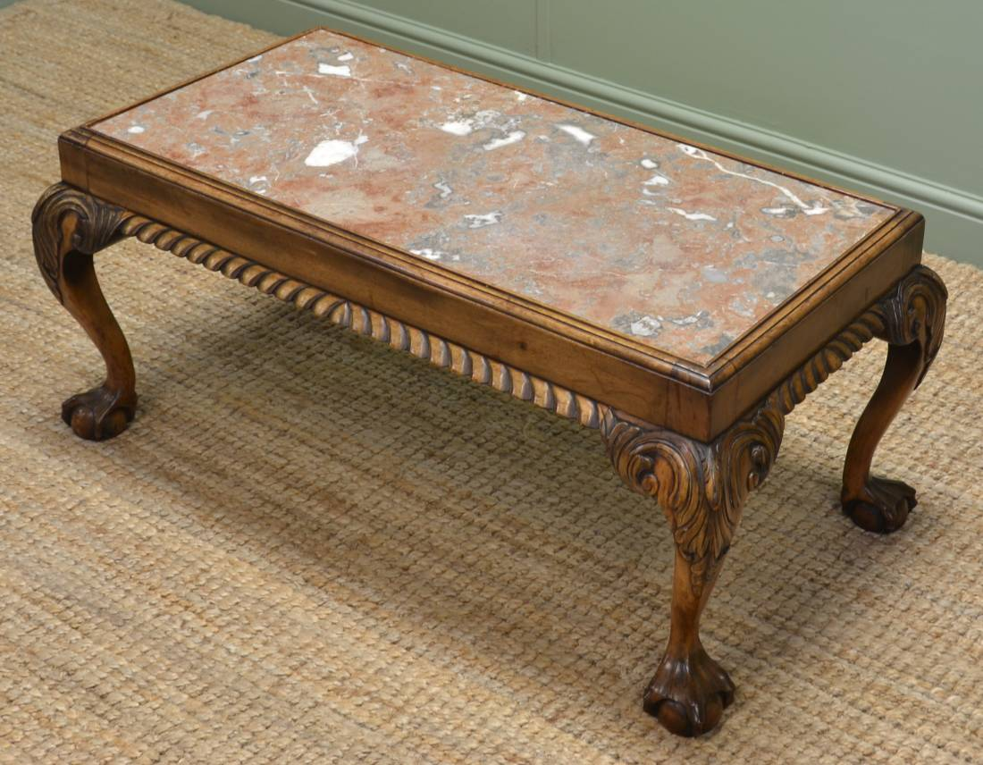 Edwardian Walnut Antique Coffee Table