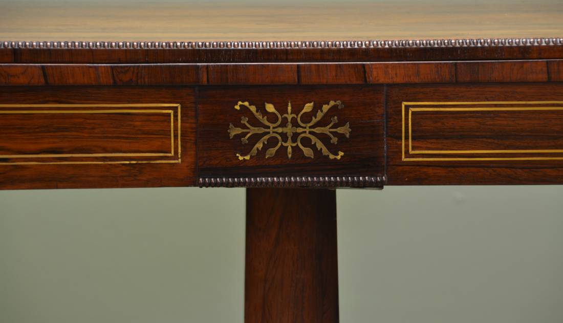 Finest Quality Regency Brass Inlaid Rosewood Antique Card / Bridge Table