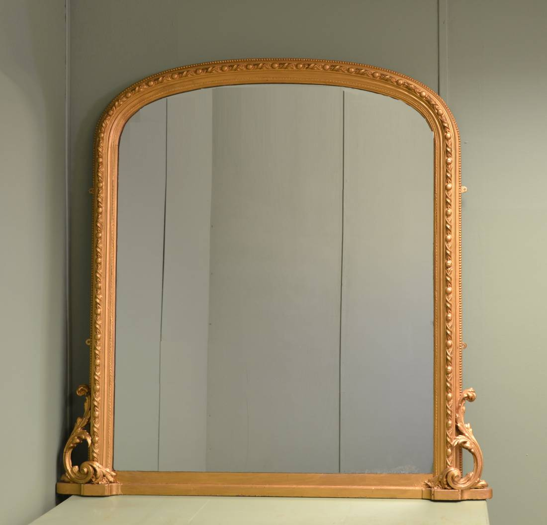 arge Decorative Victorian Antique Overmantle Mirror