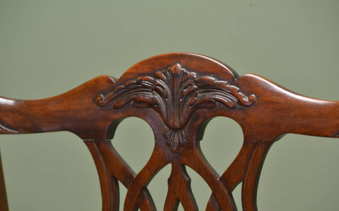 Set of Six Edwardian Antique Walnut Chippendale Design Chairs