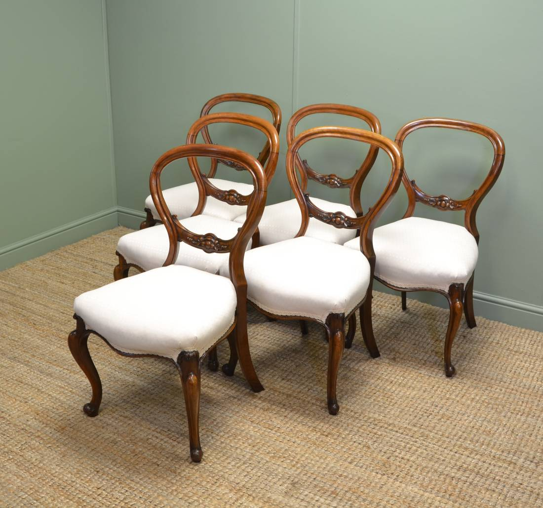Fine Quality, Set of Six, Balloon Back Antique Chairs in Walnut