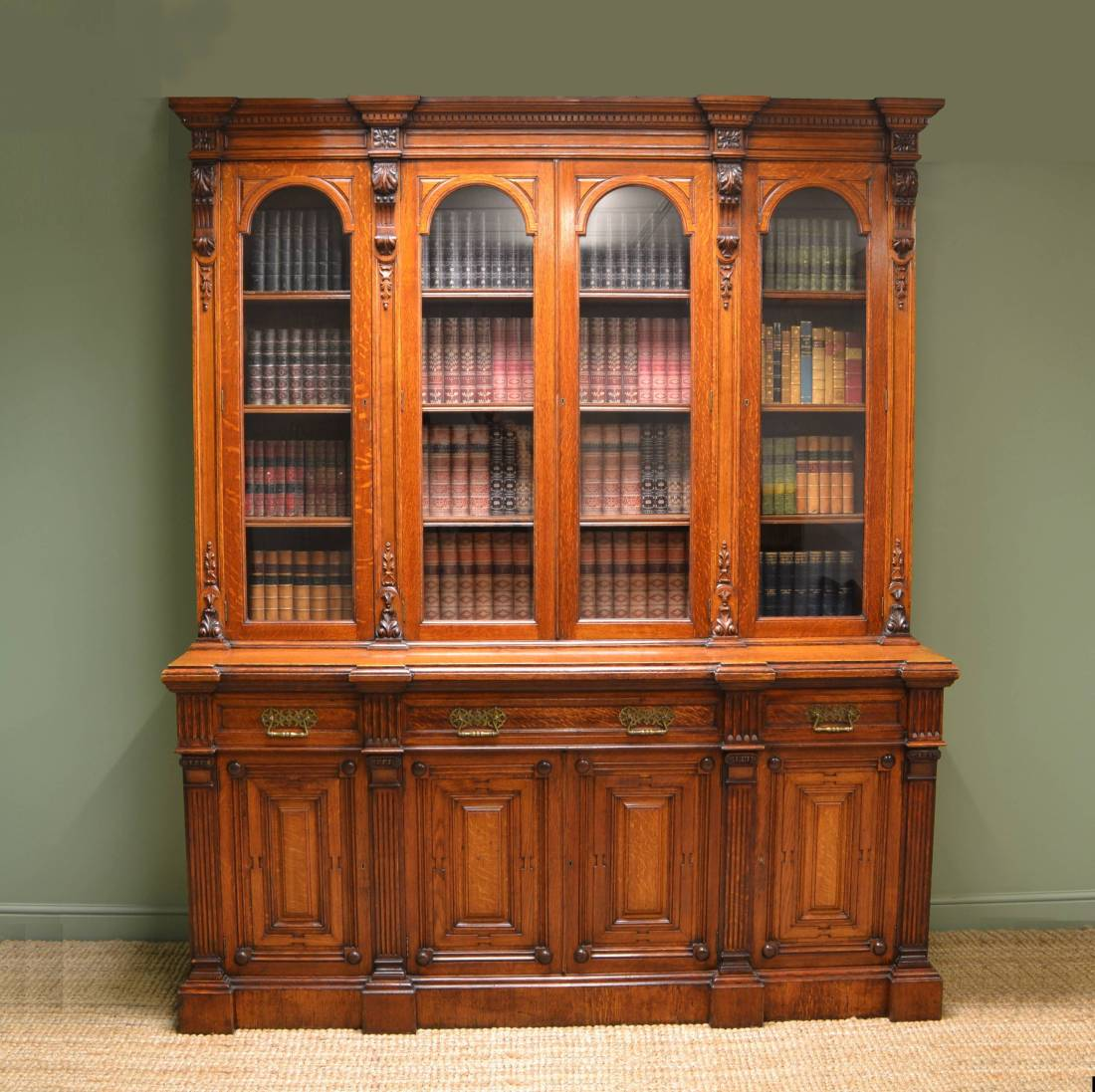 Grand Victorian Solid Oak Antique Library Bookcase